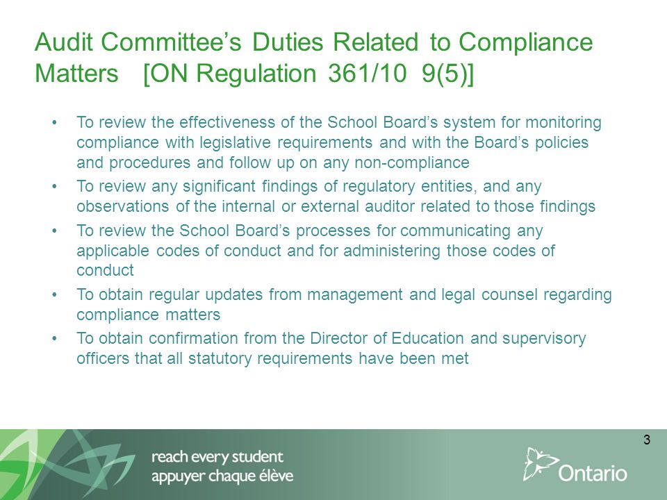 Audit Committee's Duties Related to Compliance Matters [ON Regulation 361/10 9(5)]